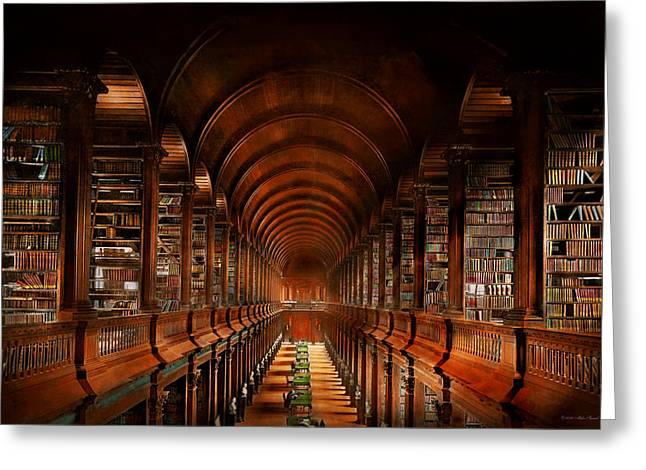 Library - The Long Room 1885 Greeting Card by Mike Savad