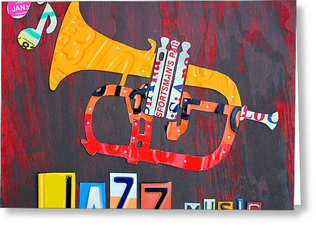 Drive Mixed Media Greeting Cards - License Plate Art Jazz Series Number One Trumpet Greeting Card by Design Turnpike
