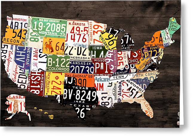 Road Trip Greeting Cards - License Plate Map of The United States - Warm Colors / Black Edition Greeting Card by Design Turnpike