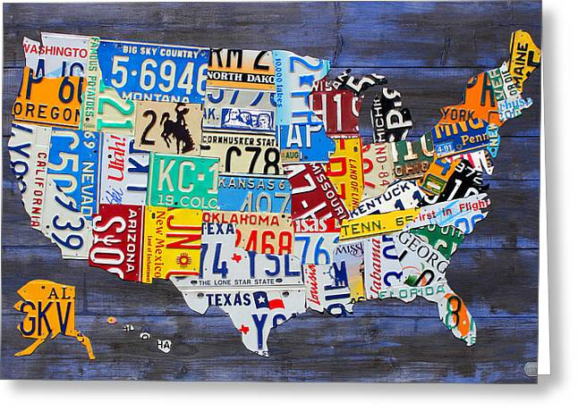 License Plate Map Of The Usa On Blue Wood Boards Greeting Card by Design Turnpike
