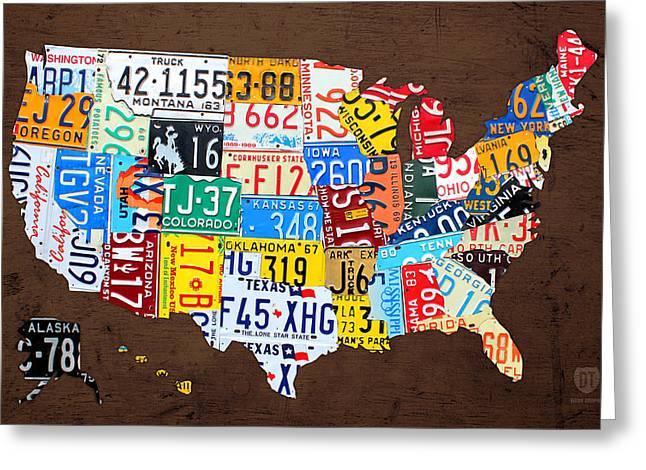 License Plate Map Of The Usa On Brown Wood Greeting Card by Design Turnpike