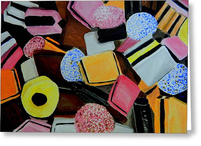 Licorice Paintings Greeting Cards - Licorice All Sorts Greeting Card by Betty-Anne McDonald
