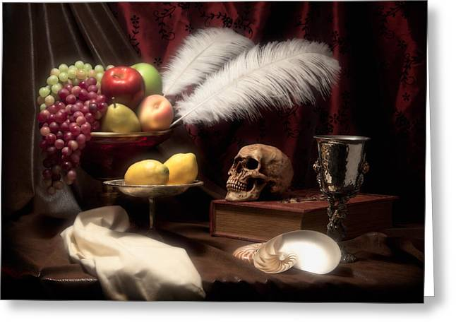 Compote Greeting Cards - Life and Death in Still Life Greeting Card by Tom Mc Nemar