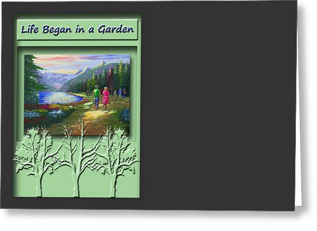 Religious Paintings Greeting Cards - Life Began in a Garden Greeting Card by Saeed Hojjati
