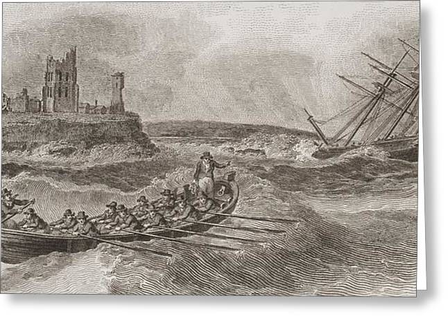 Rescue Drawings Greeting Cards - Life Boat Rowing To Rescue Of Greeting Card by Ken Welsh
