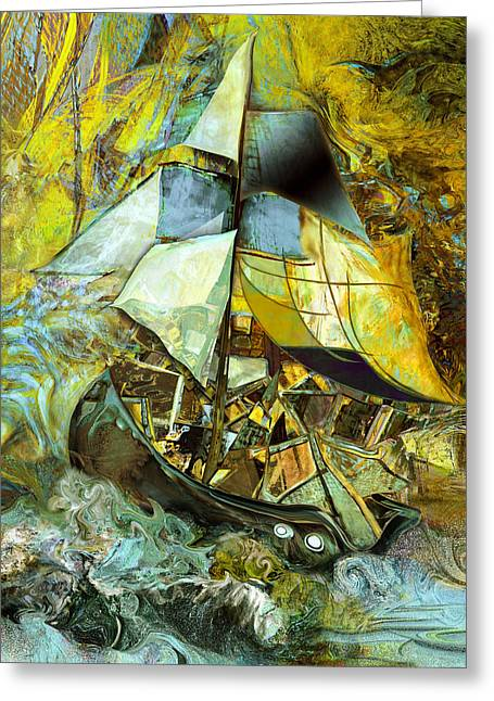 Sailing Ship Mixed Media Greeting Cards - Life boat with large cargo  Greeting Card by Anne Weirich