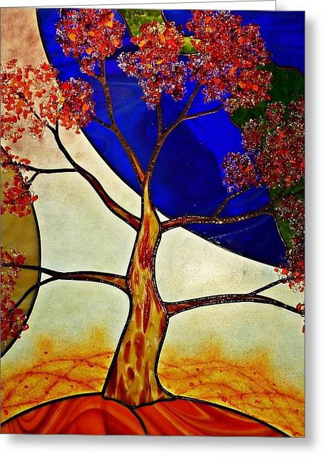 Planet Glass Art Greeting Cards - Life Force Greeting Card by Samantha  Calder