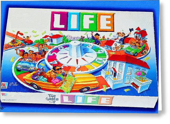 Board Game Paintings Greeting Cards - Life Game Of Life Board Game Painting Greeting Card by Tony Rubino