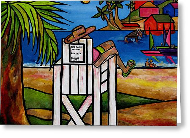 Jamaica Paintings Greeting Cards - Life Guard In Jamaica Greeting Card by Patti Schermerhorn
