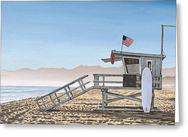 Santa Cruz Surfing Greeting Cards - Life Guard Tower Greeting Card by Andrew Palmer
