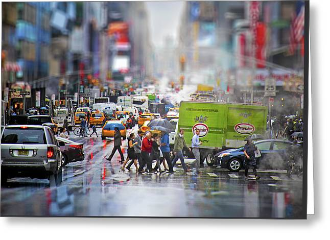 Life In New York City Greeting Card by Mark Andrew Thomas