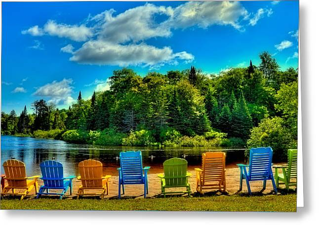 Pond In Park Greeting Cards - Life in the Adirondack Mountains Greeting Card by David Patterson