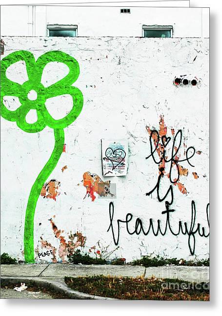 Vida Greeting Cards - Life is Beautiful Graffiti Flower Wall Greeting Card by ArtyZen Home - ArtyZen Studios