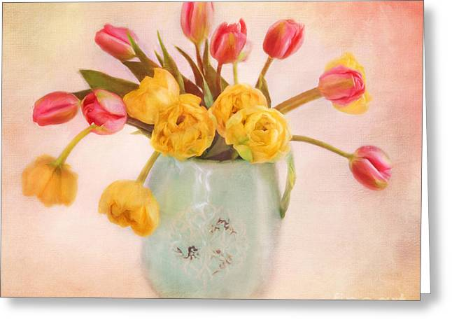 Tangerine Greeting Cards - Life is beautiful with Tulips Greeting Card by Carolyn Rauh