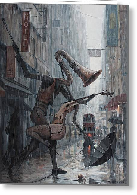 Life Is  Dance In The Rain Greeting Card by Adrian Borda