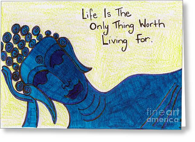 Buddha Sketch Greeting Cards - Life Greeting Card by Kim Magee ART