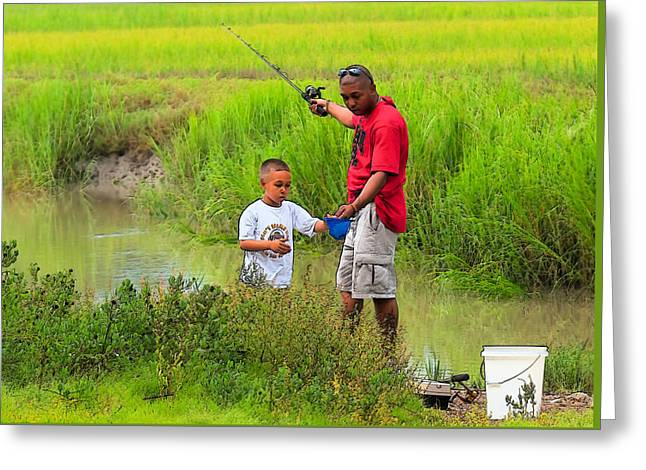 Fishing Creek Greeting Cards - Life Lessons Greeting Card by Laura Ragland