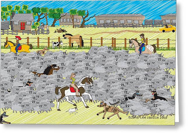 Life On A Sheep Station Greeting Card by Diana-Lee Saville
