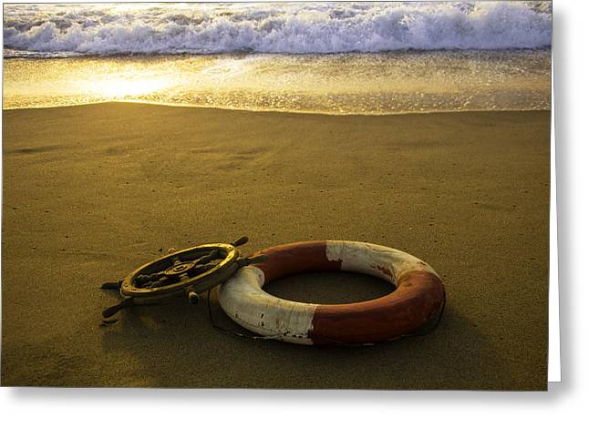 Life Ring On Beach Greeting Card by Garry Gay
