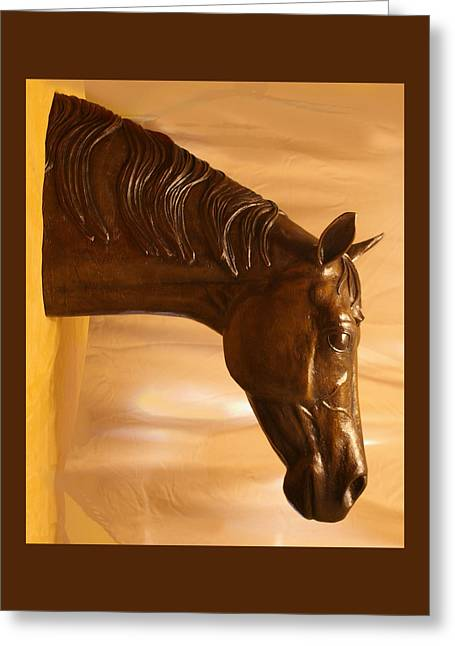 Sized Sculptures Greeting Cards - Life size horse head fountain Greeting Card by Kim Corpany
