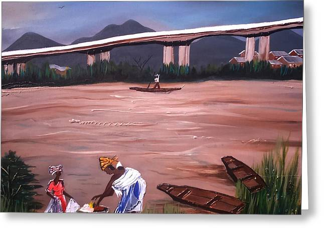 Life Under The Niger Bridge. Greeting Card by Emmanuel Anaiye Ifebunmi