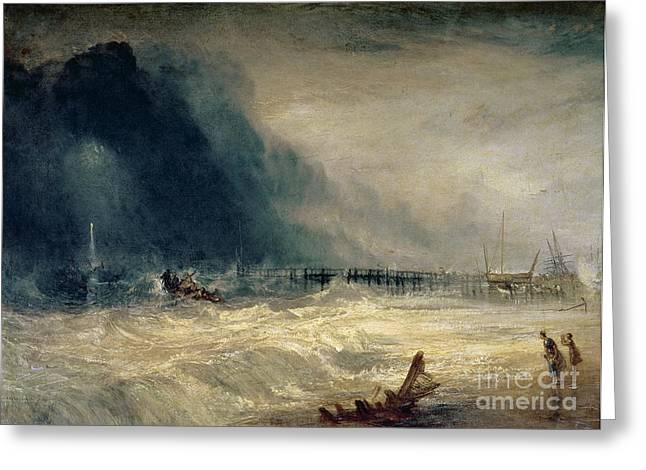 Ocean Shore Greeting Cards - Lifeboat and Manby Apparatus going off to a stranded vessel making signal of distress Greeting Card by Joseph Mallord William Turner