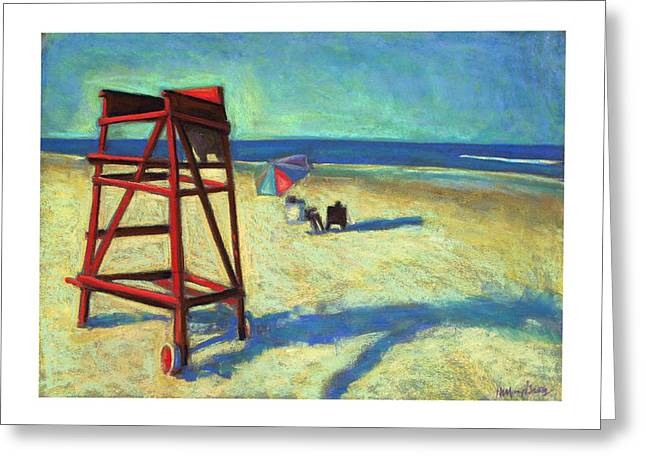 Beach Landscape Pastels Greeting Cards - Lifeguard Chair on Ponce Inlet Beach Greeting Card by Hillary Gross