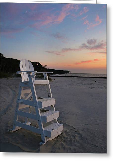 Wooden Stairs Greeting Cards - Lifeguard Chair Greeting Card by Rick Leipold