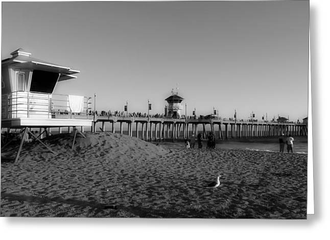 Ocean Panorama Greeting Cards - Lifeguard Stand And Pier - Huntington Beach California Greeting Card by Mountain Dreams