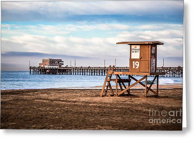Balboa Greeting Cards - Lifeguard Tower and Newport Pier Newport Beach California Greeting Card by Paul Velgos