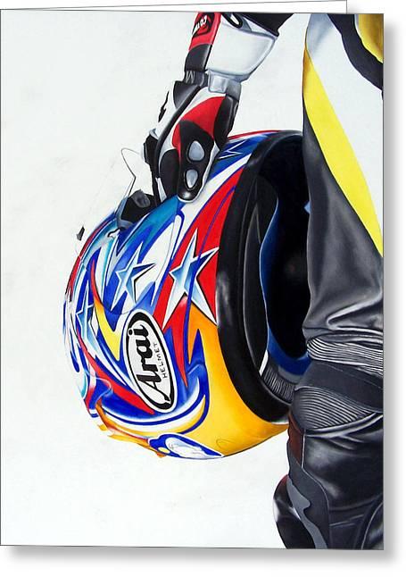 Self Portrait Motorcycle Arai Helmet Leather Suit Figurative Realism Diptych Sculpture Statue Renaissance Dark Emotive Expressive Saint St. Cecilia Greeting Cards - Lifeline Greeting Card by Ian Hemingway