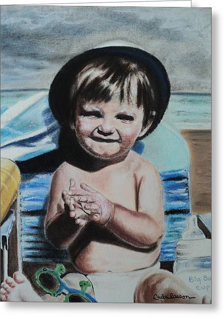 Boy Pastels Greeting Cards - Lifes a Beach Greeting Card by Carla Carson