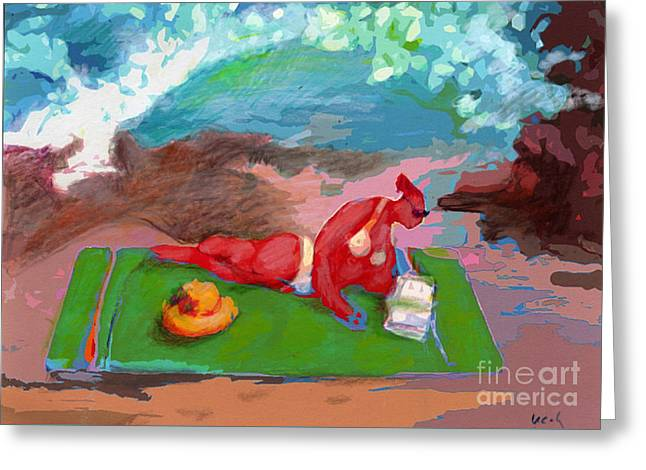 Beach Towel Mixed Media Greeting Cards - Lifes a Beach Greeting Card by Cecily Mitchell