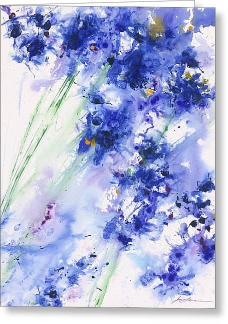 Flowers Greeting Cards - Lifes Drama Blue Greeting Card by Jerome Lawrence