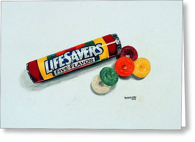 Candy Drawings Greeting Cards - Lifesavers Greeting Card by Duncan  Way
