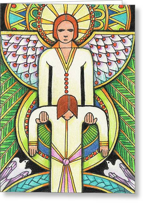 Guardian Angel Drawings Greeting Cards - Lift Me Up Greeting Card by Amy S Turner