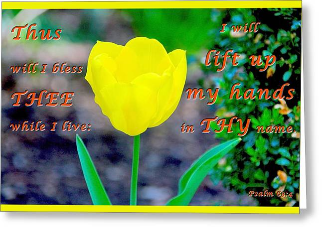 Lift Up My Hands Greeting Card by Terry Wallace
