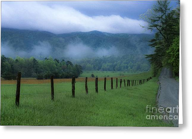 Landscape Photograpy Greeting Cards - Lifting Fog in Cades Cove Greeting Card by Sandra Bronstein