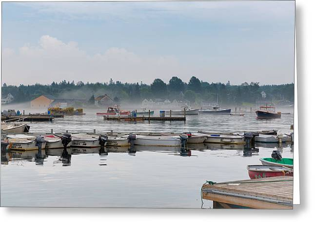 Docked Boats Greeting Cards - Lifting Fog Greeting Card by John Bailey