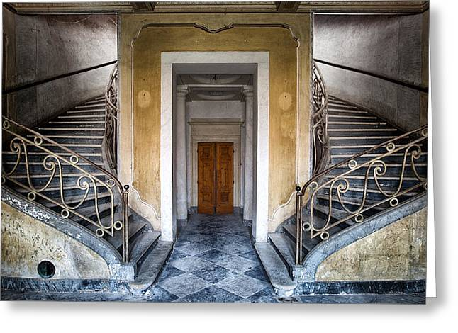 Deserted Castle Greeting Cards - Light Above The Stairs - Urban Exploration Greeting Card by Dirk Ercken