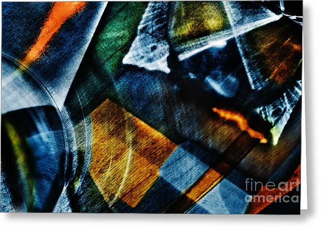 Glass Reflecting Greeting Cards - Light abstraction in blue Greeting Card by Elena Lir-Rachkovskaya