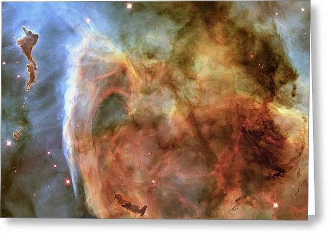 Light And Shadow In The Carina Nebula Greeting Card by Adam Romanowicz
