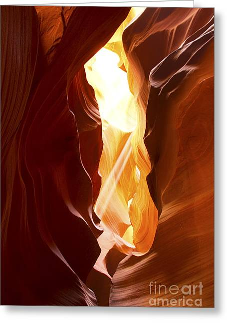 Geology Photographs Greeting Cards - Light Beams in Slot Canyon Greeting Card by Karen Foley