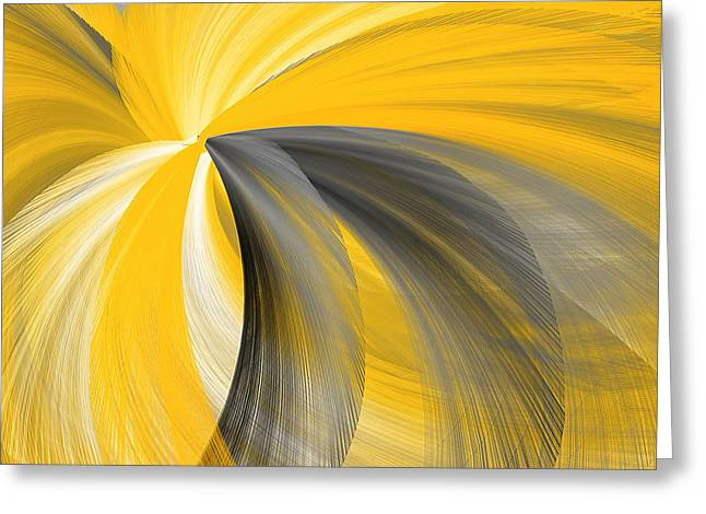 Yellow And Grey Abstract Art Greeting Cards - Light Beyond Greeting Card by Lourry Legarde