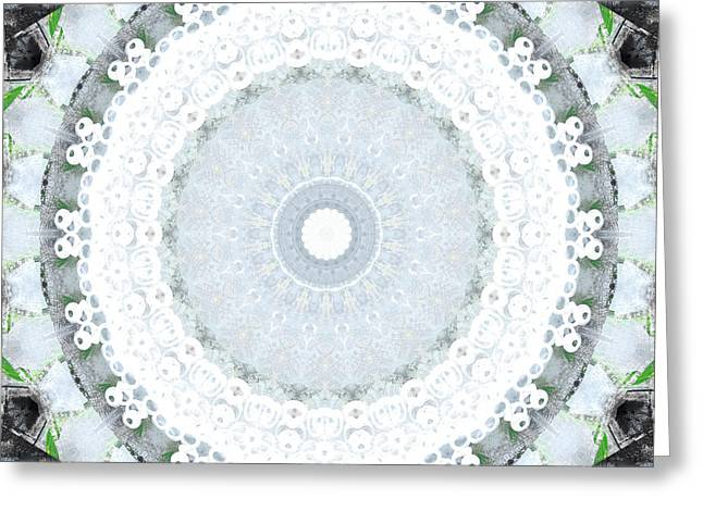Light Blue Mandala- Art By Linda Woods Greeting Card by Linda Woods
