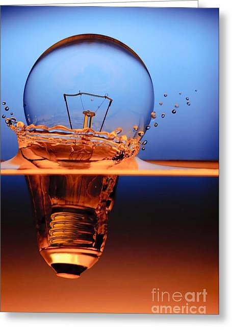 Glass Greeting Cards - Light Bulb And Splash Water Greeting Card by Setsiri Silapasuwanchai