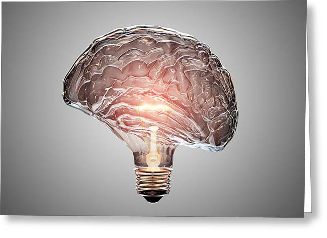 Light Bulb Brain Greeting Card by Johan Swanepoel