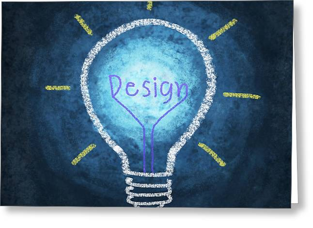 Student Art Greeting Cards - Light Bulb Design Greeting Card by Setsiri Silapasuwanchai