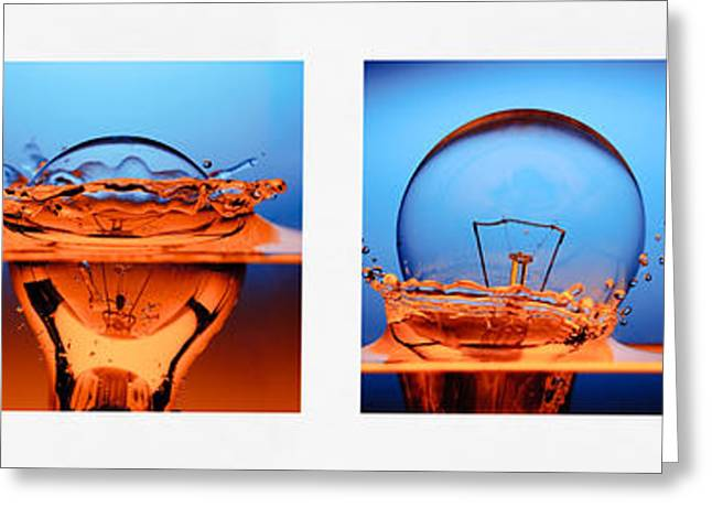 Incandescent Greeting Cards - Light Bulb Drop In To The Water Greeting Card by Setsiri Silapasuwanchai