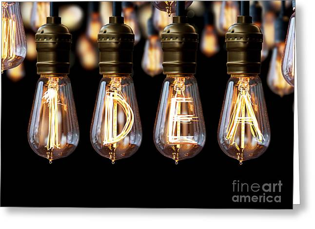 Candle Lit Greeting Cards - Light Bulb Idea Greeting Card by Setsiri Silapasuwanchai